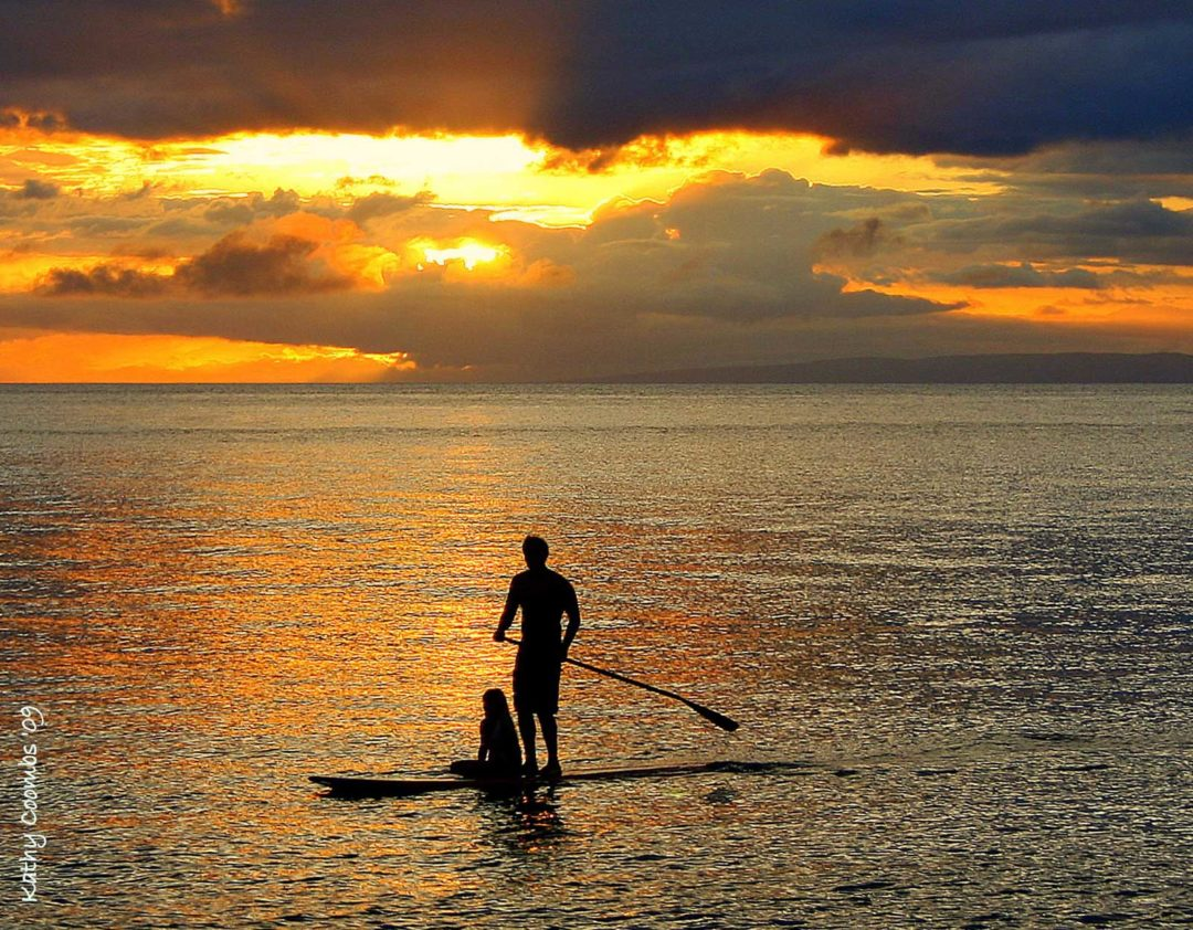 Paddle Boarding in Maui Sunset