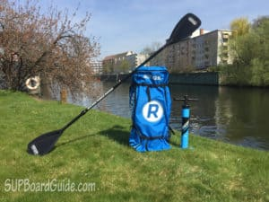 Paddle, backpack and pump for SUP