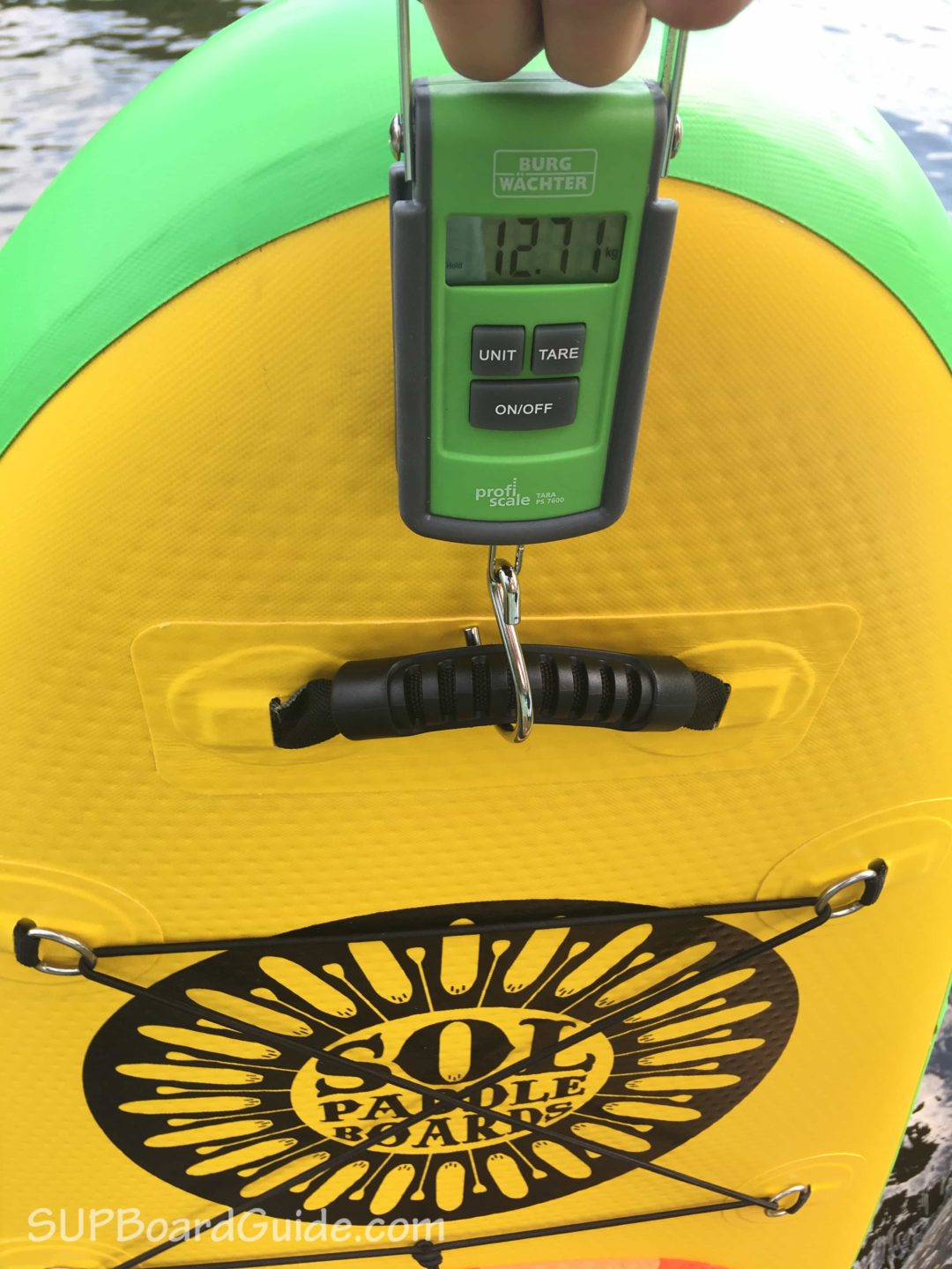 Measured paddle board weight