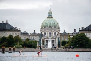 Several racers pace through some practice rounds in Copenhagen before the start of the competition.