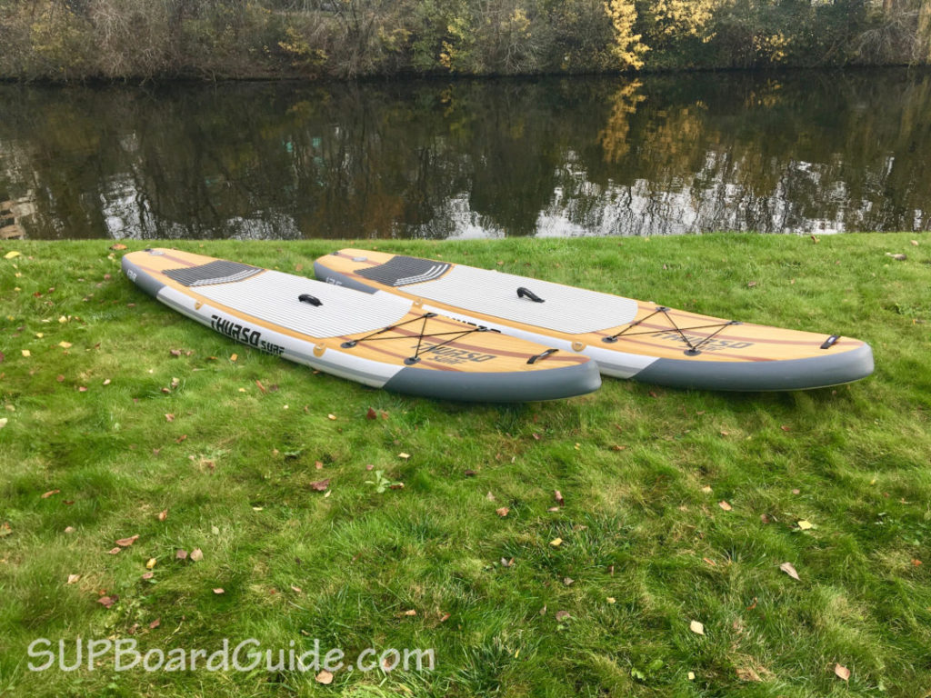 Wood stripe paddle board