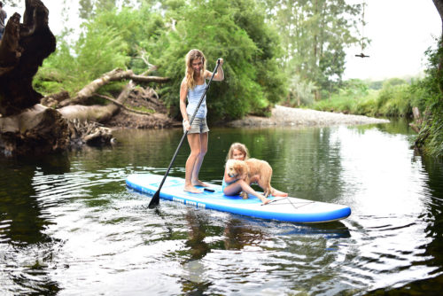 Girl Paddling iSUP-Dog-Kids