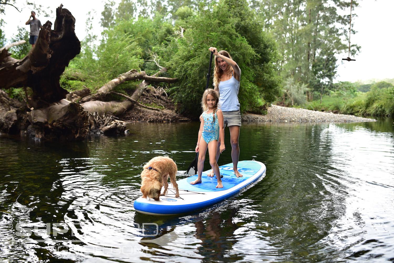 Dog, Girl and Woman on SUP