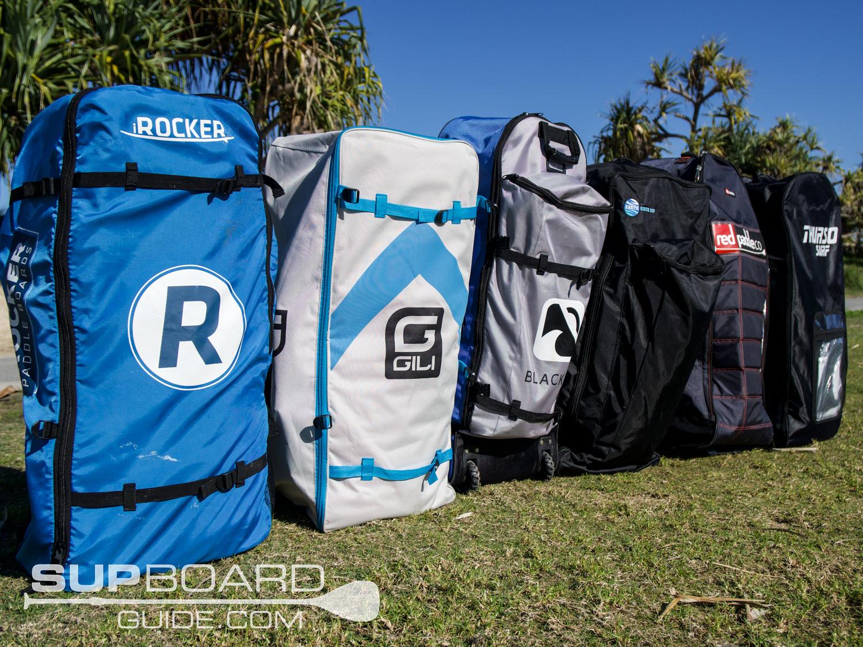 Blue, grey and black backpacks