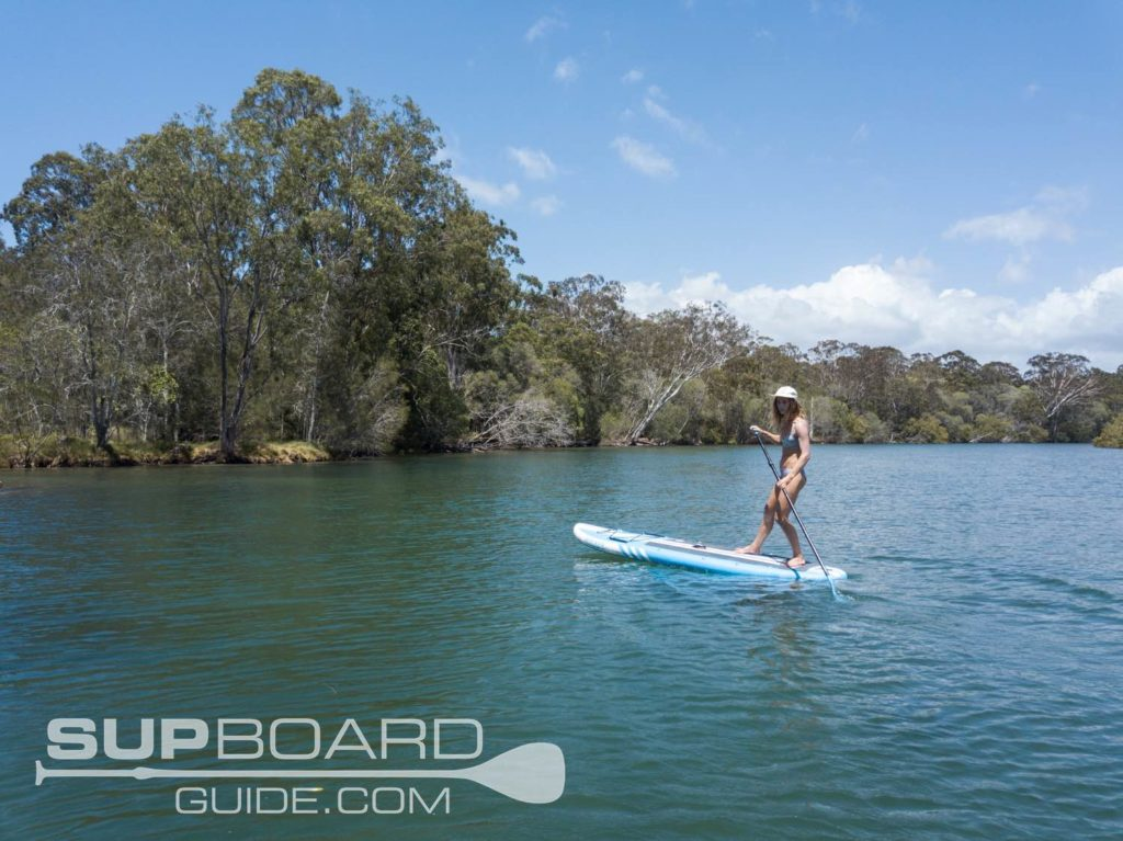 paddling inflatable paddleboard