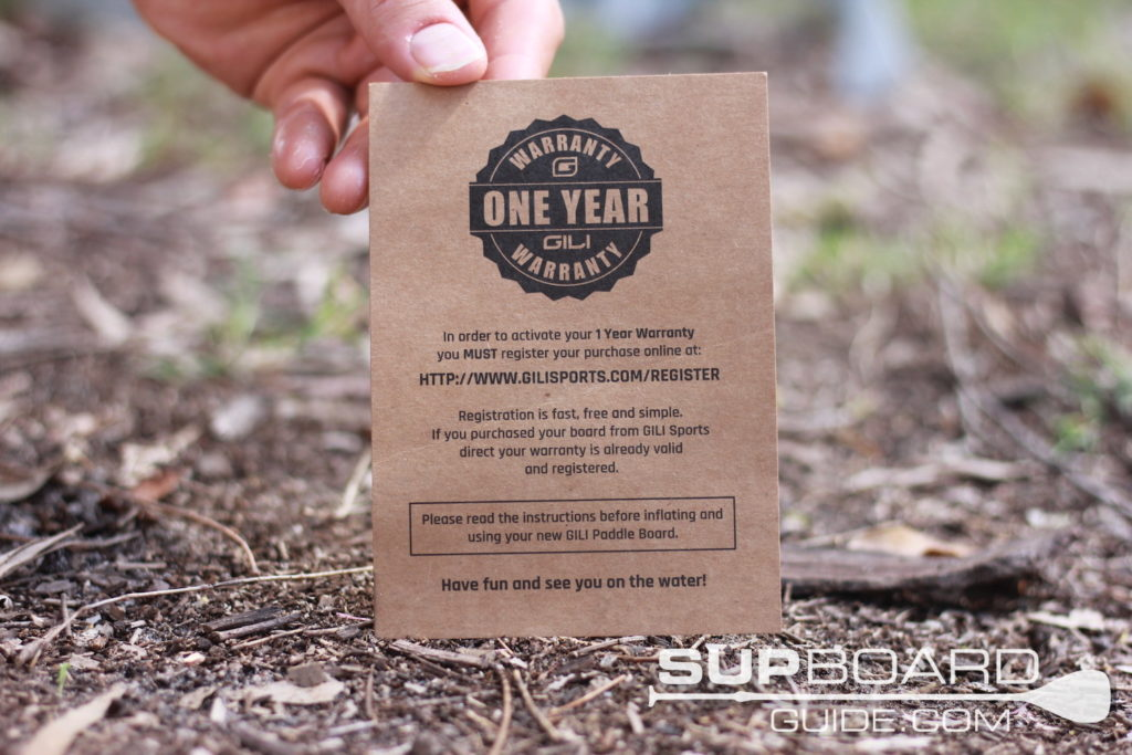 1 year SUP warranty card