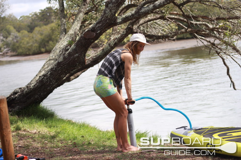 Pumping SUP by hand pump