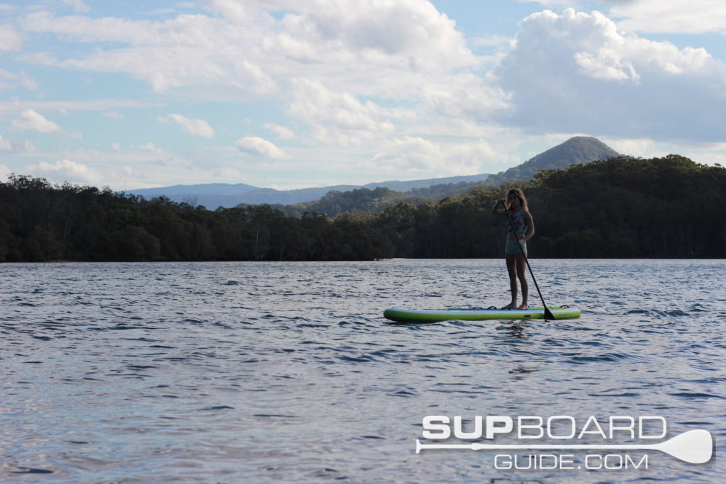 Gentle SUP paddle on river