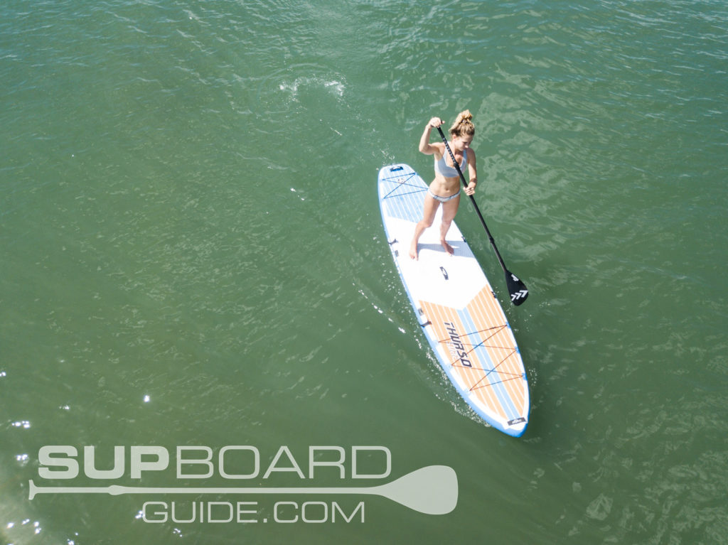 Drone shot of paddling Max multi person sup