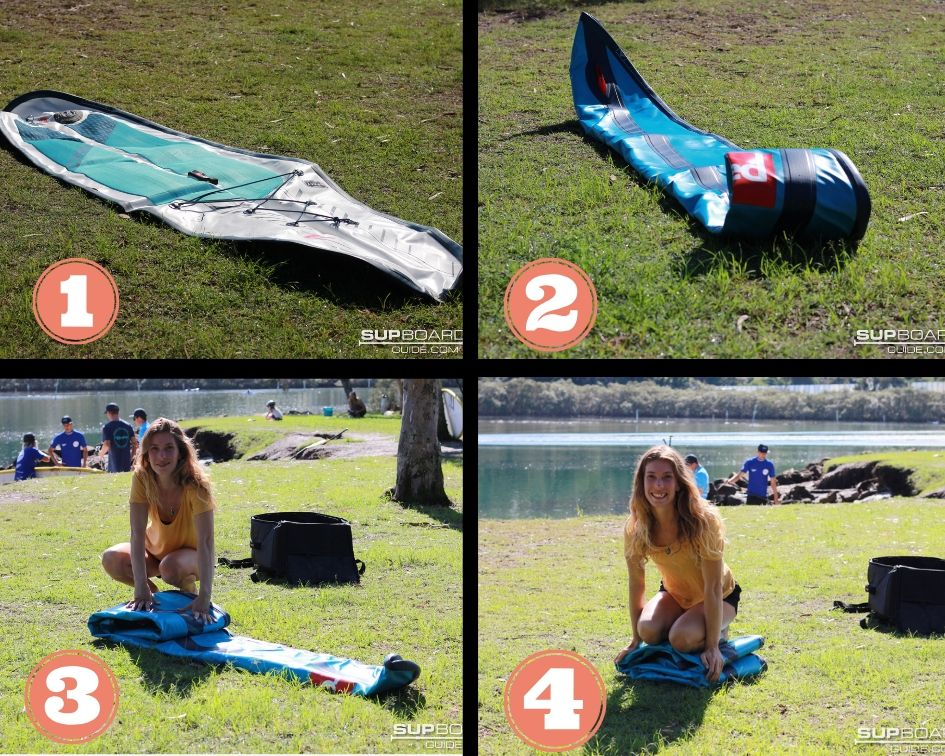 Collage of folding SUP