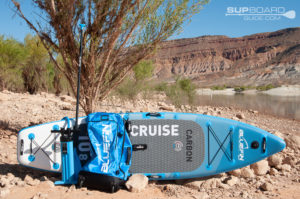 """Cruise Carbon 10'8"""" complete package with backpack, pump, and paddle."""